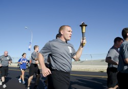KCC Police Academy students participate in a Law Enforcement Torch Run event.