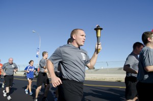 KCC Police Academy students participate in a Law Enforcement Torch Run event last September.