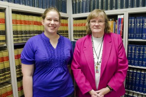 PSA President Caity Benham, left, and Paralegal Program Coordinator Susan McCabe.