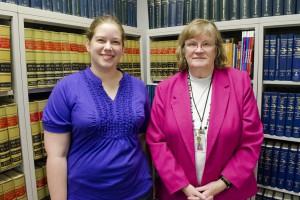 PSA President Caity Benham, left, and Paralegal Program Coordinator Susan McCabe.