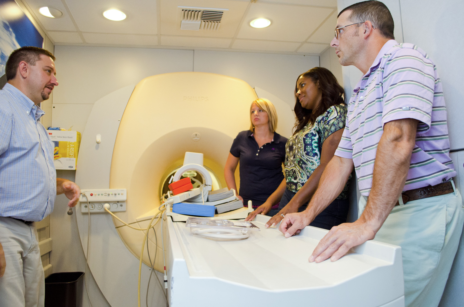 MRI students learn from an instructor in a mobile MRI unit on campus in Battle Creek.
