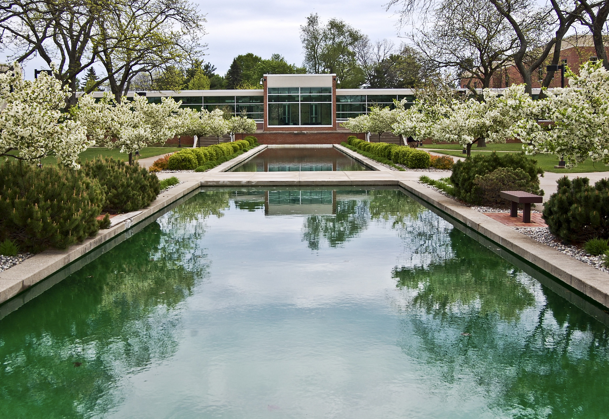 A view over the reflecting pools on KCC's North Avenue campus.
