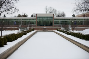 Snow blankets the reflecting pools on KCC's North Avenue campus.