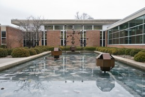 The sculptural fountain outside the LRC, where the Spring Lake Room is located.