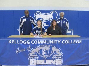 Left to right are head women's soccer coach Barth Beasley, Katherine Romeo, Stacey Romeo (mother) and assistant women's soccer coach Charles Pratt.