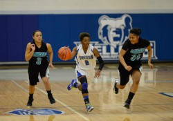 Sophomore guard Raeha Weaver (Lakeview) brings the ball down the court against KVCC.