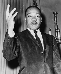 Martin Luther King, Jr., in a photo by Dick DeMarsico, available from the Library of Congress.