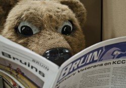 Blaze the mascot reads a recent edition of the Bruin student newspaper.