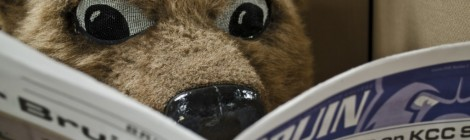 Blaze reads a recent edition of the Bruin student newspaper.