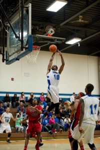 KCC's Christian Covile goes up for a dunk against Lake Michigan College at home on Feb. 2.