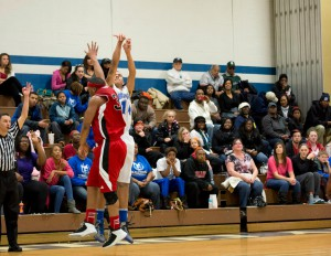KCC's Devin Hegler shoots a three-pointer during the team's home game against Lake Michigan College on Saturday, Feb. 2, 2013.