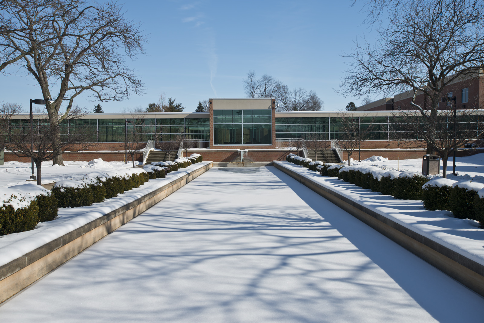 A sunny, snowy day on KCC's North Avenue campus.