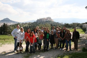 KCC's international travel students pictured in Greece. Photo courtesy of Ann Michels.