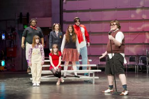 "Cast members from KCC's upcoming production of ""Spelling Bee"" pictured during a recent dress rehearsal."