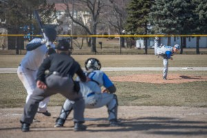 Chad Mayle pitches against GRCC in March.