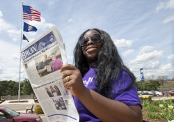 A reader enjoys the May 2013 edition of the Bruin student newspaper.