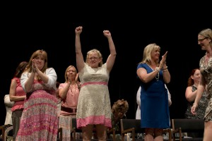 Celebrations on stage following last night's nursing pinning ceremony at W.K. Kellogg Auditorium.