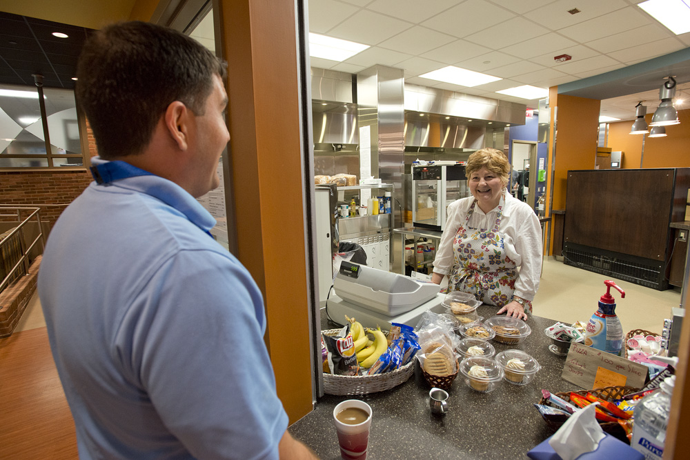 VetSuccess on Campus counselor Brent Haddow orders breakfast at KCC's Bruin Bistro.