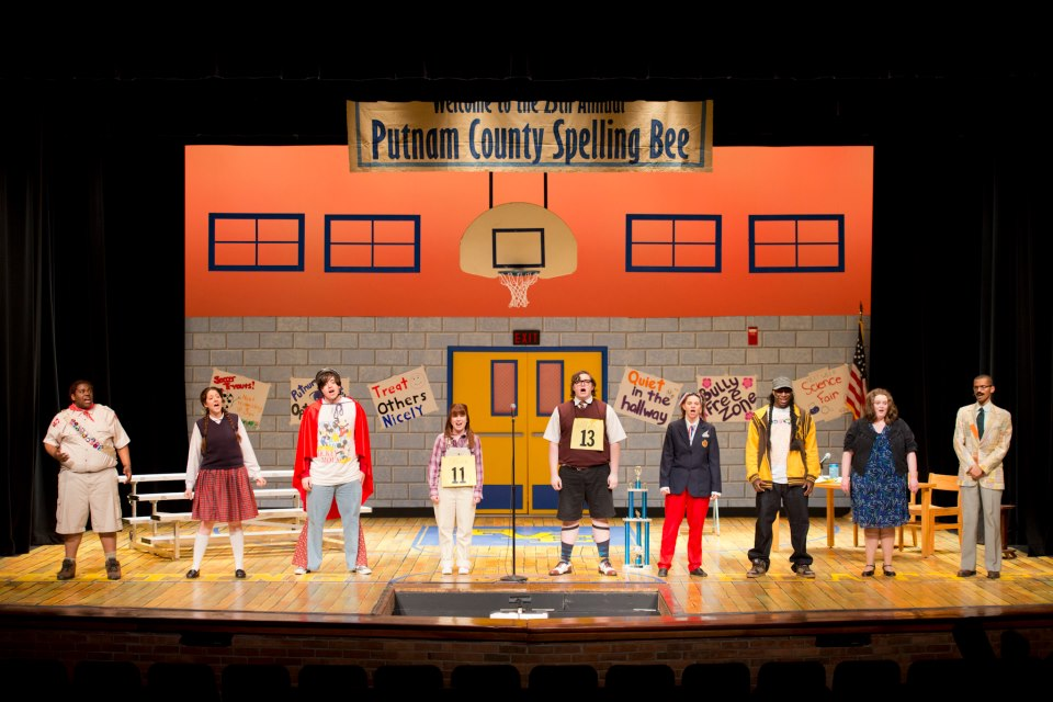 """KCC Theatre actors perform during a dress rehearsal for """"The 25th Annual Putnam County Spelling Bee"""" last semester."""