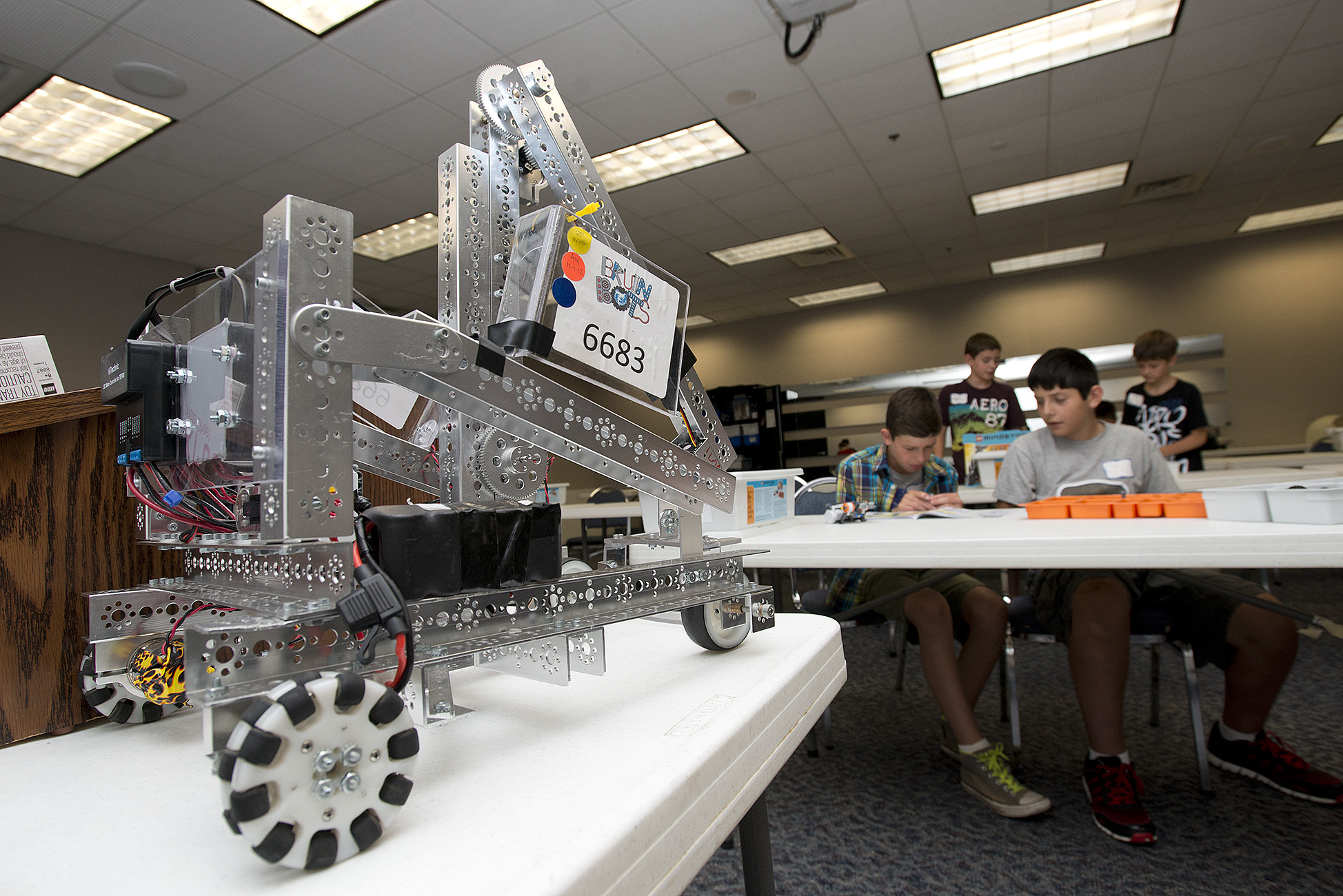 Bruin Bots summer camp participants work during camp in 2013.