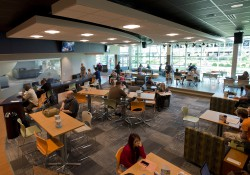 Students hang out in the newly renovated Student Center during the first day of Fall 2013 classes.