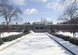 Snow on the reflecting pools on KCC's North Avenue campus in Battle Creek