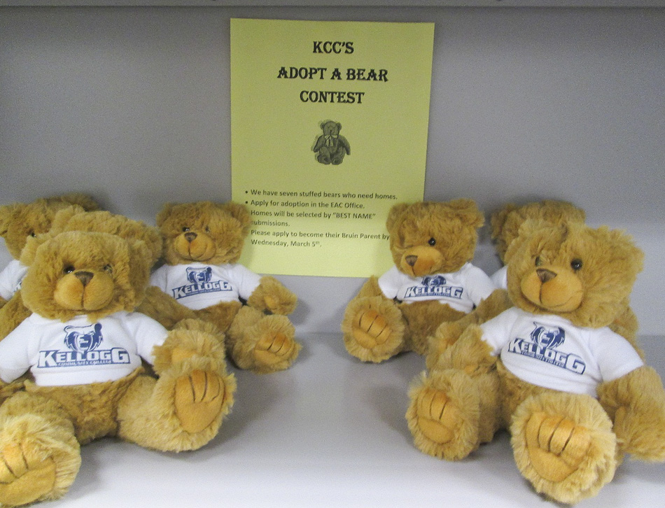 A photo of teddy bears set out for a giveaway at KCC's Eastern Academic Center in Albion