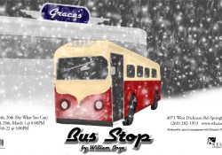 "Promotional slide for ""Bus Stop"" play"