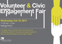 Promotional slide for KCC's Volunteer and Civic Engagement Fair