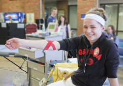 A student at at KCC blood drive