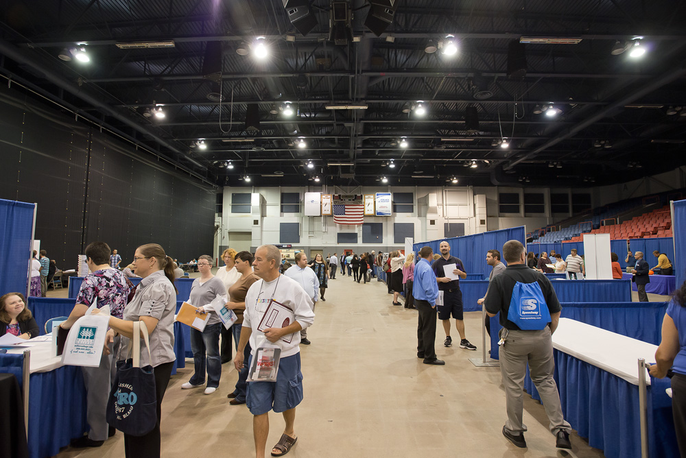 A photo of participants at the Battle Creek Regional Job Fair at Kellogg Arena in Fall 2013.