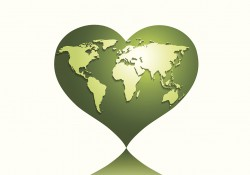 Stock photo of the earth in a heart shape for Earth Day.