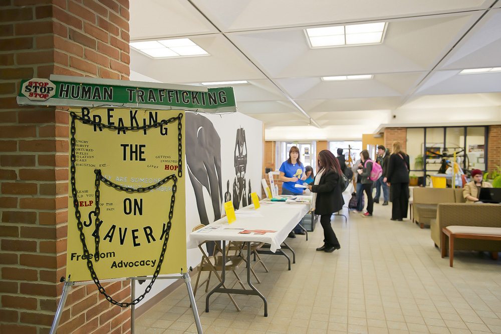 A photo of the Davidson Center lobby during a Human Trafficking Workshop event.