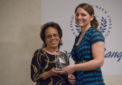 KCC professor Sheila Matthews presents Erin Elliston with the award for Outstanding Human Services Program Graduate during the 2014 Awards Banquet.