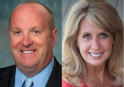 Headshot photos of KCC Board of Trustees Chairman Steve Claywell and KCC Foundation Board of Directors Chairwoman Kathy-Sue Dunn.