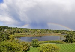 A rainbow over Spring Lake on KCC's North Avenue campus.