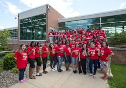 The 2014 cohort of Upward Bound students and instructors at KCC.