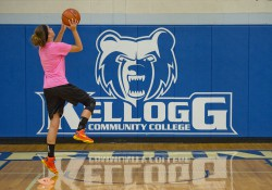 An participant in the women's basketball team's Open Gym Night goes up for a layup at the Miller Gym.