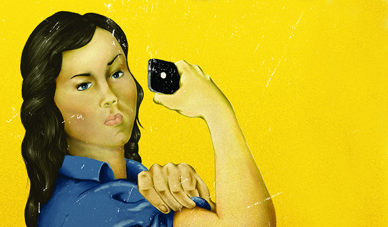 Illustration of a girl flexing and holding a smartphone