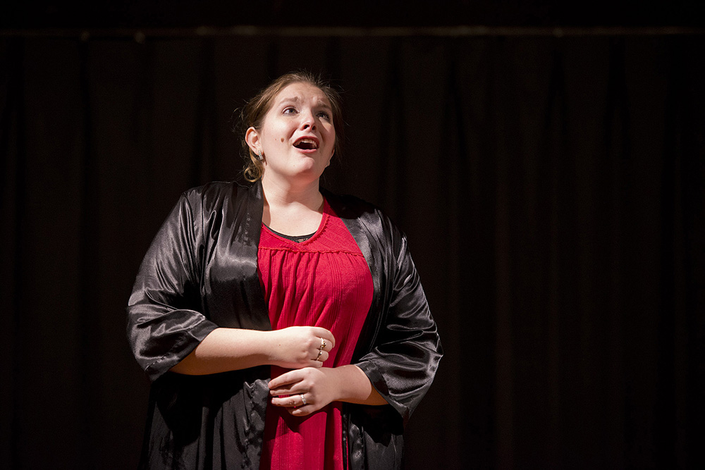 An Opera Workshop participant rehearses for a production.