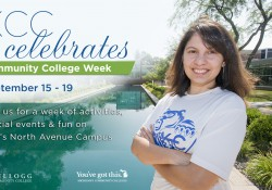 Digital slide graphics featuring a student by the reflecting pools to promote Community College Week.