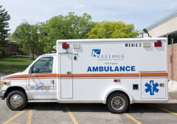 The KCC EMS Program ambulance, parked outside the Lane-Thomas Building.