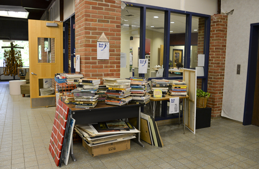 A photo of the offerings for sale as part of the Davidson Center's book sale.