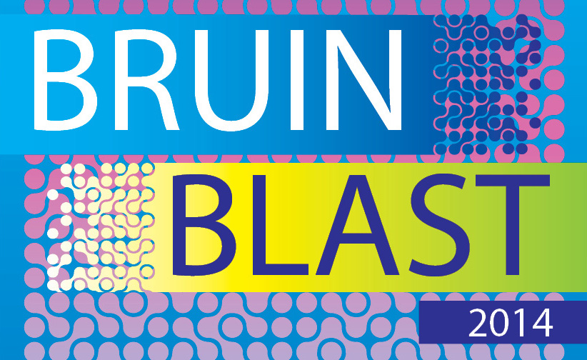 A text graphic promoting the 2014 Bruin Blast welcome back event for students.