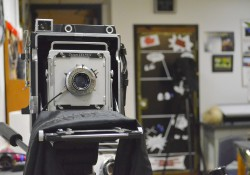 An old-fashioned camera in a classroom on the lower level of the Davidson Center.