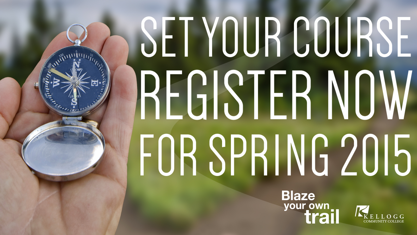 Slide promoting registration featuring a hand holding a compass.