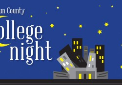 A text graphic promoting Calhoun County College Night with the C stylized to look like the moon.