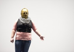 "Danielle Cavinder as C-3PO in a dress rehearsal for ""Sampled Shakespeare"""