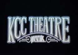 """A stylized KCC Theatre graphic that opens the College's """"Sampled Shakespeare"""" play in the Binda Theatre"""