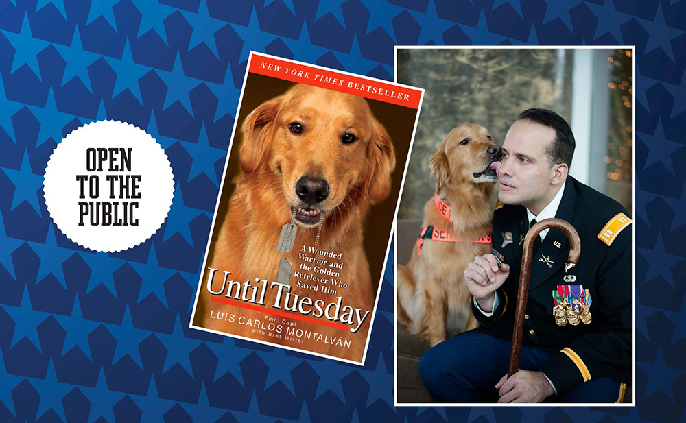 A promotional image featuring author Luis Montalvan and his dog Tuesday; the author is speaking at campus.